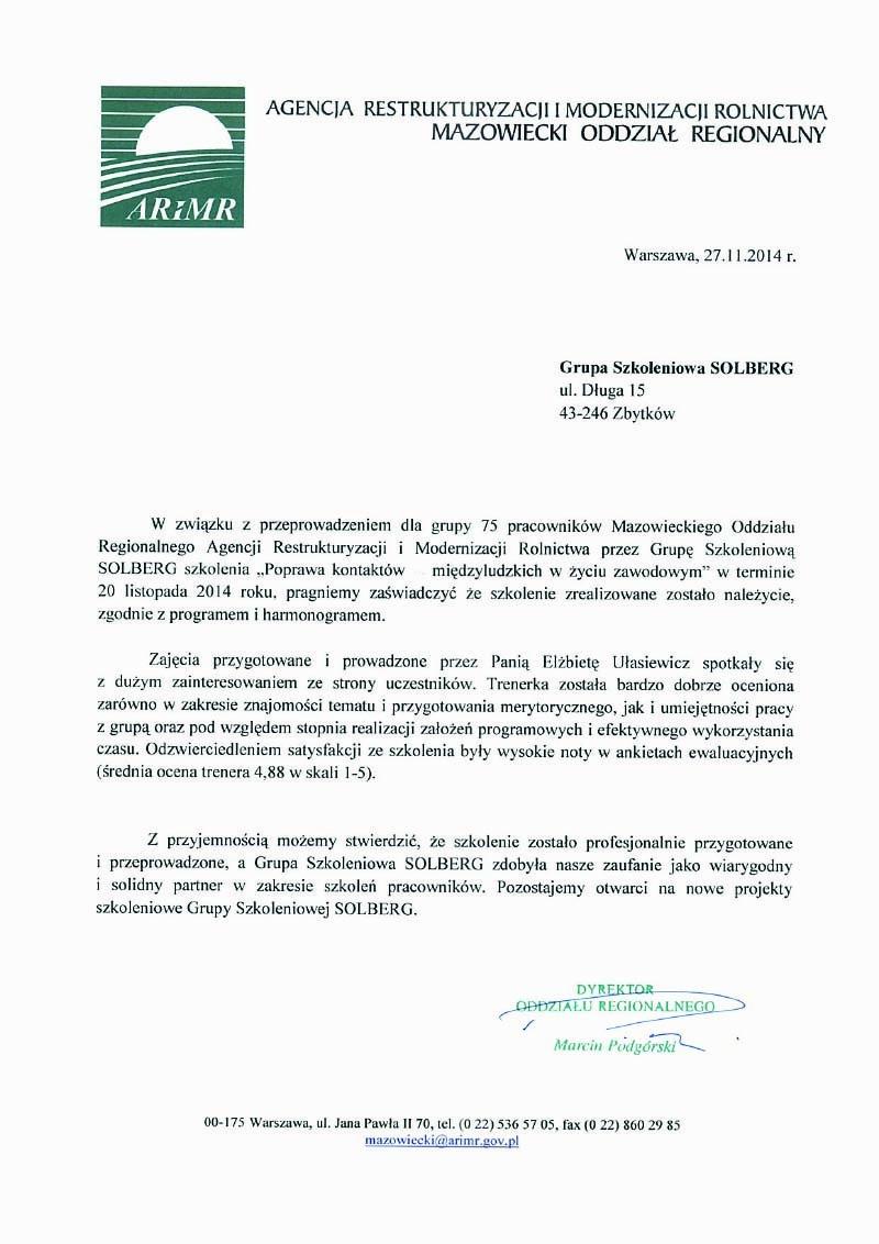 ARIMR MazowieckiOR- Poprawa kontaktów międzyludzkich